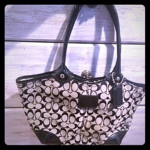 COACH black and gray monogram large tote
